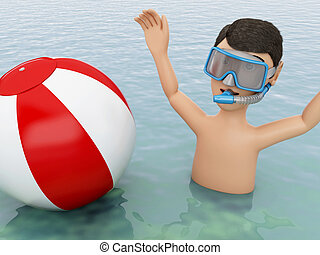 3d young people with beach ball in water. - 3d illustration....