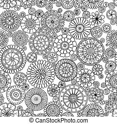 Seamless monochrome summer pattern with stylized flowers in...