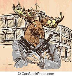 Gunman. Elk - An hand drawn vector. Line art. - Gunman....