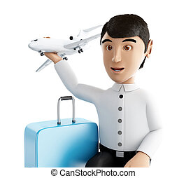 3d people tourist with suitcases goes on vacation - 3d...