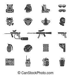 Vector silhouette paintball or airsoft icon set - Vector set...