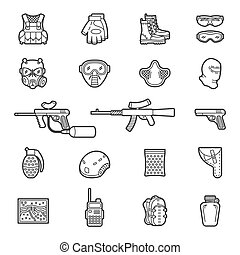 Vector line paintball or airsoft icon set - Vector set of...