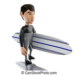 3d people with surfboard and wearing equipment. - 3d...
