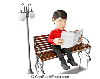 3d People reading on a wooden bench - 3d illustration People...