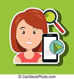 woman smartphone search cursor