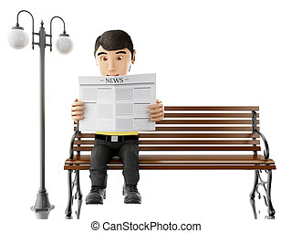 3d People reading on a wooden bench. - 3d illustration....