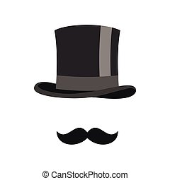Cylinder and moustaches icon, flat style - Cylinder and...