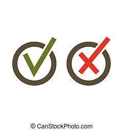 Signs of choice of tick and cross in circles icon in flat...