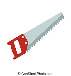 Wood saw icon, flat style - Wood saw icon in flat style...