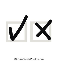 Checkmark to accept and refusal icon, flat style