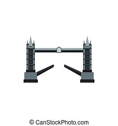 Tower bridge icon, flat style - Tower bridge icon in flat...