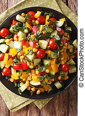 Low calorie salad of corn, tomatoes, cucumbers and pepper...