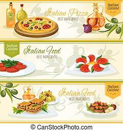 italiano, cucina, Bandiere, per, ristorante, disegno