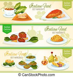 Italian food and mediterranean cuisine banners - Italian...
