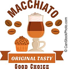 Macchiato original tasty coffe icon. Cafe emblem - Cafe menu...