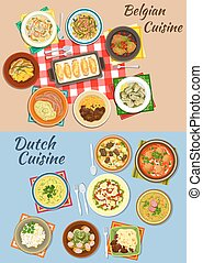 Dutch and belgian cuisine icon for food design - Dutch and...