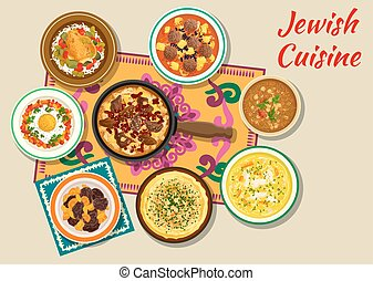 Jewish cuisine kosher dishes for dinner icon - Jewish...