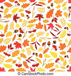Autumn leaves with acorns seamless pattern