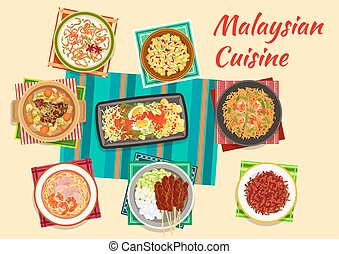 Malaysian cuisine traditional dinner icon - Malaysian...
