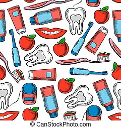 Dental health and dentistry seamless pattern