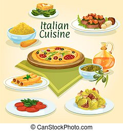 Italian cuisine national dishes for menu design