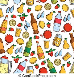 Fruits and cold drinks seamless pattern