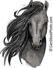 Black mare horse head sketch - Black mare horse symbol of...