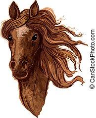Sketch of brown arabian mare horse head with beige star mark...