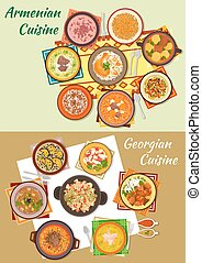 Georgian and armenian cuisine dinner dishes icon - Georgian...