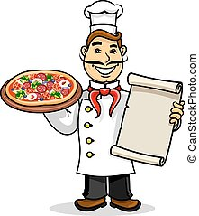 Pizzeria icon. Chef wih Menu card and pizza - Pizzeria icon....