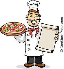Pizzeria icon. Chef wih Menu card and pizza - Pizzeria icon....