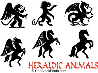 Animals heraldic emblems. Vector silhouette icons