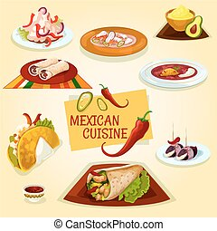 Mexican cuisine taco, burrito and tortilla icon - Mexican...