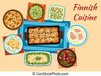 Finnish cuisine fish and meat dinner dishes icon - Finnish...