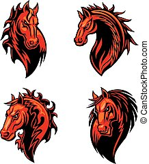 Fire flaming horse head for mascot design