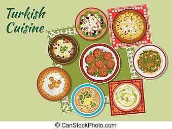 Summer dishes of turkish cuisine icon - Turkish cuisine icon...