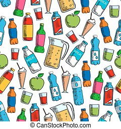 Fruit drinks and dairy beverages seamless pattern