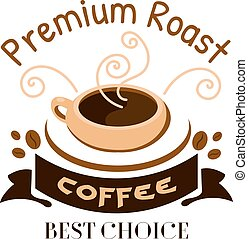 Premium roast coffe icon Cafe emblem - Cafe menu icon...