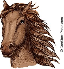 Brown racehorse sketch for horse racing design - Brown...