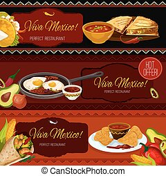 Mexican cuisine restaurant banners with spicy food