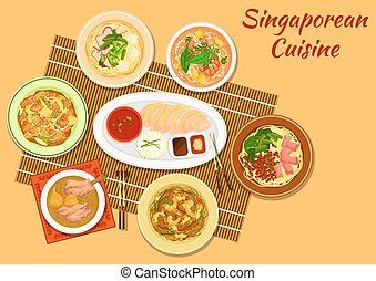 Singaporean cuisine popular dinner dishes icon - Singaporean...