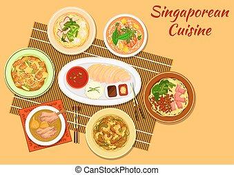 Singaporean cuisine popular dinner dishes icon - Singaporean...