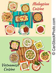 Vietnamese and malaysian cuisine icon with seafood and...