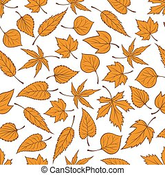 Orange autumn leaves seamless pattern background