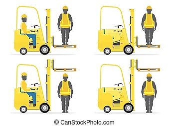 Set of cartoon forklift on a white background. Flat vector
