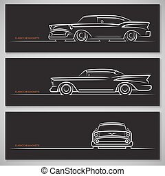 Set of classic car silhouettes in american style - Set of...