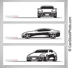 Set of modern car silhouettes, contours isolated on white...