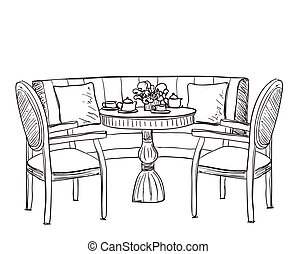 Furniture in the cafe. Dinner table. hand drawn chair and...