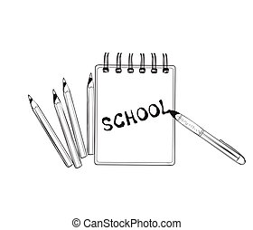 School doodles icons. Hand drawn notebook.