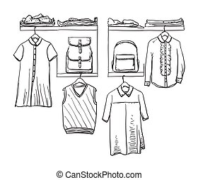 School uniform. Clothes on the hanger. Backpack - School...